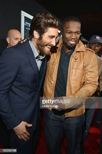 """Actor Jake Gyllenhaal and rapper 50 Cent arrive at the """"End Of Watch"""" Los Angeles Premiere at Regal Cinemas L.A. Live on September 17, 2012 in Los..."""