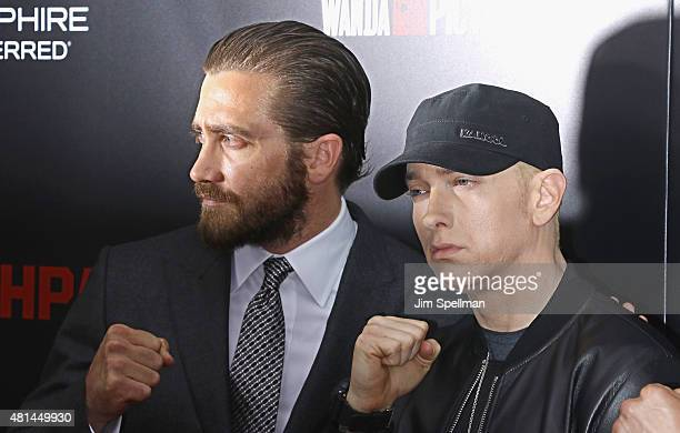 Actor Jake Gyllenhaal and rapper Eminem attend the 'Southpaw' New York premiere at AMC Loews Lincoln Square on July 20 2015 in New York City