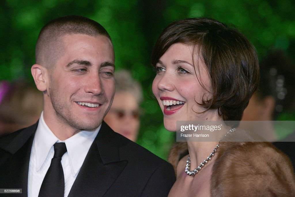 Actor Jake Gyllenhaal and sister Actress Maggie Gyllenhaal arrive at the Vanity Fair Oscar Party at Mortons on February 27, 2005 in West Hollywood, California.