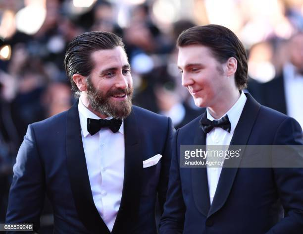 US actor Jake Gyllenhaal and US actor Paul Dano arrive for the screening of the film 'Okja' in competition at the 70th annual Cannes Film Festival in...