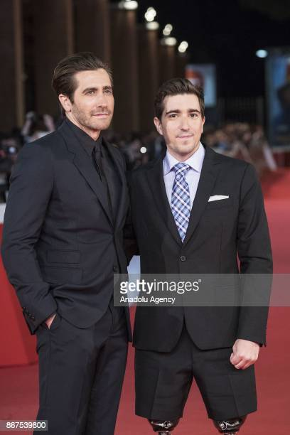 Actor Jake Gyllenhaal and writer Jeff Bauman victim of Boston marathon bombing 2013 attend the red carpet of the movie Stronger during 12th Film Fest...