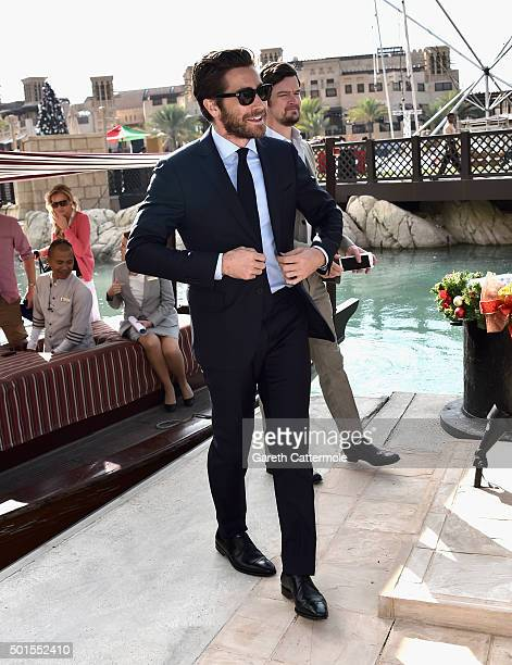 Actor Jake Gyllenhaal arrives at a photocall during day eight of the 12th annual Dubai International Film Festival held at the Madinat Jumeriah...