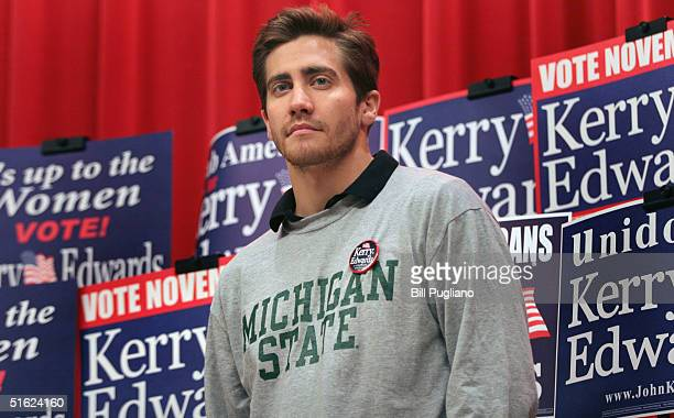 Actor Jake Gyllenhaal attends a Democratic candidate Sen John Kerry rally at Michigan State University October 29 2004 in East Lansing Michigan