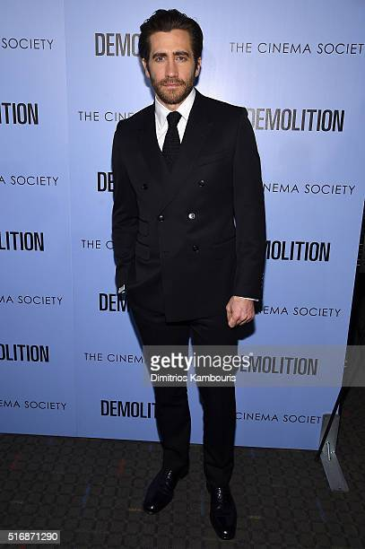 Actor Jake Gyllenhaal attends a screening of 'Demolition' hosted by Fox Searchlight Pictures with the Cinema Society at the SVA Theater on March 21...