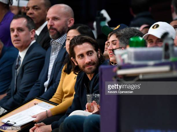 Actor Jake Gyllenhaal attends the basketball game between the Los Angeles Lakers and the San Antonio Spurs at Staples Center on February 4 2020 in...