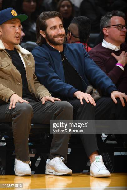 Actor Jake Gyllenhaal attends the game between the Los Angeles Lakers and San Antonio Spurs on February 04 2020 at STAPLES Center in Los Angeles...