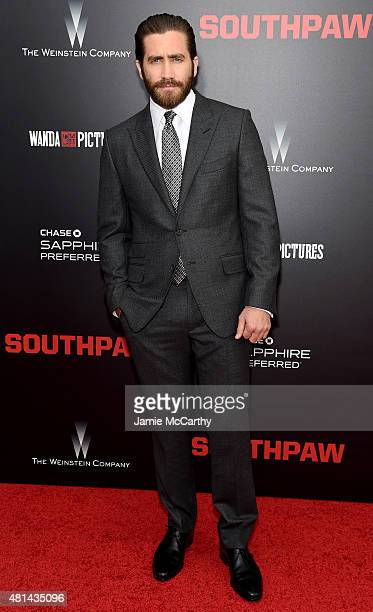 Actor Jake Gyllenhaal attends the New York premiere of 'Southpaw' at AMC Loews Lincoln Square on July 20 2015 in New York City