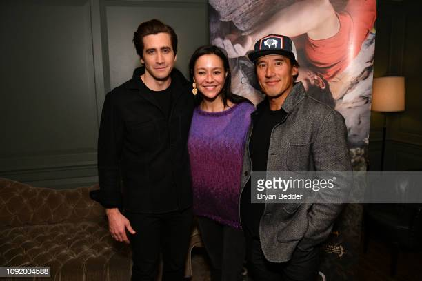 Actor Jake Gyllenhaal Free Solo Director and Producer E Chai Vasarhelyi and Free Solo Director Producer and Cinematographer Jimmy Chin attend a...