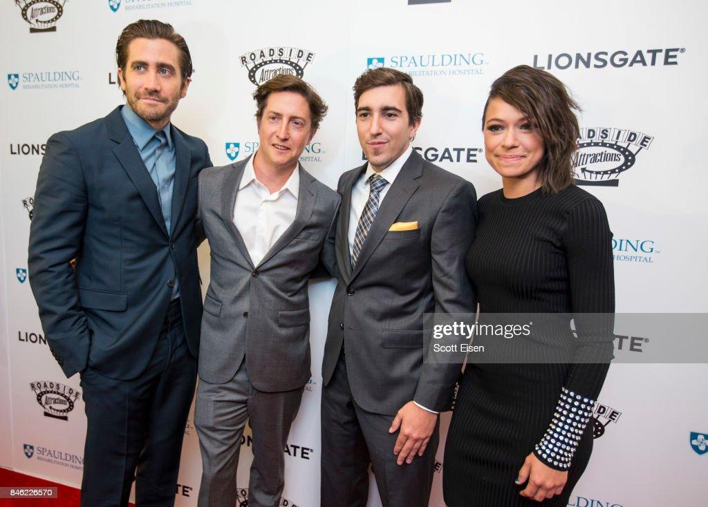 Actor Jake Gyllenhaal, from left, Director David Gordon Green, Boston Marathon bombing survivor Jeff Bauman and actress Tatiana Maslany at the Boston Premiere of STRONGER at Spaulding Rehab Center on September 12, 2017 in Charlestown, Massachusetts.