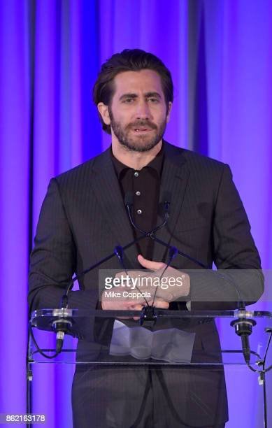 Actor Jake Gyllenhaal speaks at the Headstrong Gala 2017 at Pier 60 Chelsea Piers on October 16 2017 in New York City
