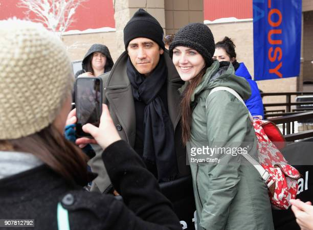 Actor Jake Gyllenhaal takes a selfie with a fan during the 2018 Sundance Film Festival on January 20 2018 in Park City Utah