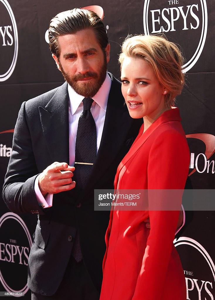 Actor Jake Gyllenhaal with Actress Rachel McAdams attends The 2015 ESPYS at Microsoft Theater on July 15, 2015 in Los Angeles, California.