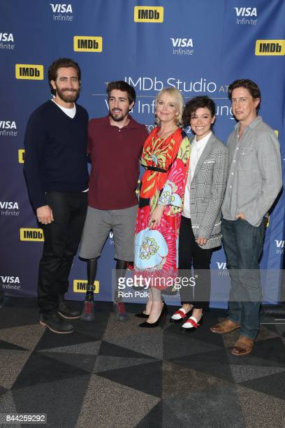 Actor Jake Gyllenhaal writer and subject Jeff Bauman actress Miranda Richardson actress Tatiana Maslany and director David Gordon Green of 'Stronger'...