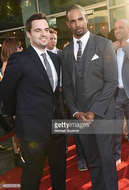 "Actor Jake Johnson and actor Damon Wayans Jr. Arrive at the premiere of Twentieth Century Fox's ""Let's Be Cops"" at ArcLight Hollywood on August 7,..."