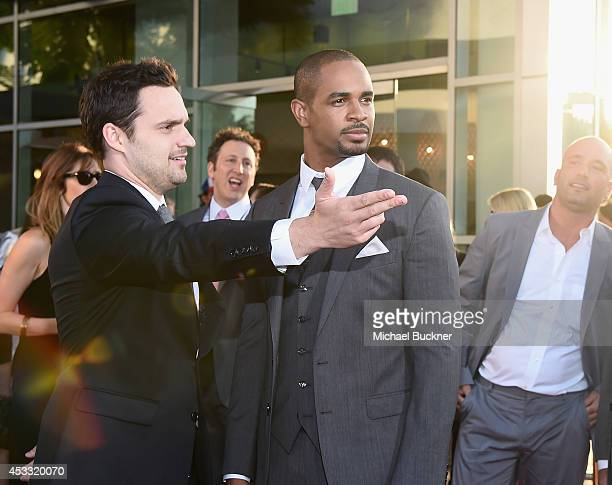 "Actor Jake Johnson and actor Damon Wayans Jr. Arrives at the premiere of Twentieth Century Fox's ""Let's Be Cops"" at ArcLight Hollywood on August 7,..."