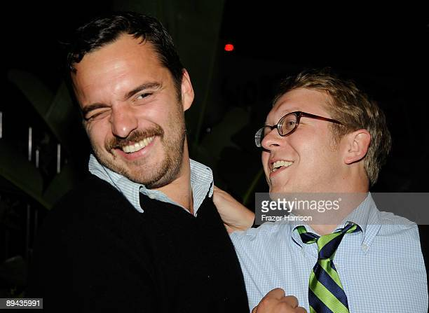 Actor Jake Johnson and Director/producer Nick Jasenovec attend the Los Angeles screening of Overture Films' 'Paper Heart' after party held at Malo on...