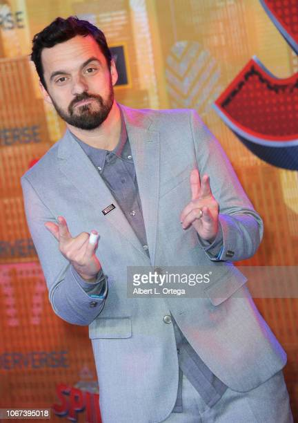 Actor Jake Johnson arrives for the World Premiere Of Sony Pictures Animation And Marvel's SpiderMan Into The SpiderVerse held at Regency Village...