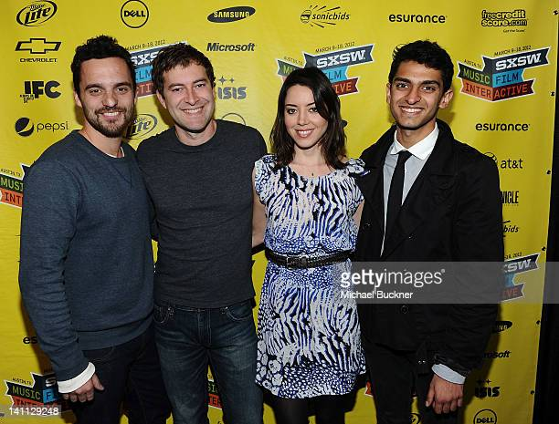 Actor Jake Johson Actor Mark Duplass Actress Aubrey Plaza and actor Karan Soni attend the screening of Safety Not Guaranteed during the 2012 SXSW...