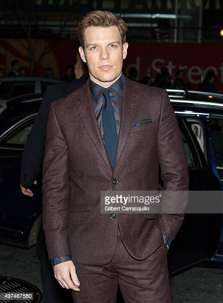 """Actor Jake Lacy is seen arriving to the New York premiere of """"Carol"""" at the Museum of Modern Art on November 16, 2015 in New York City."""