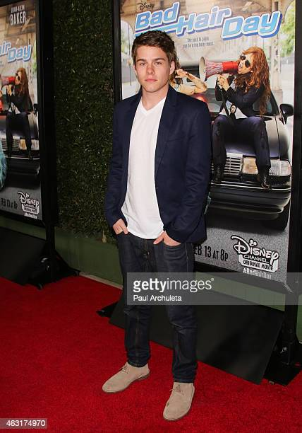 Actor Jake Manley attends the Los Angeles premiere of 'Bad Hair Day' a Disney Channel original movie at Walt Disney Studios on February 10 2015 in...