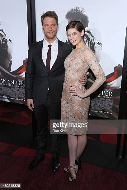 Actor Jake McDorman and Analeigh Tipton arrive at the 'American Sniper' New York Premiere at Frederick P Rose Hall Jazz at Lincoln Center on December...