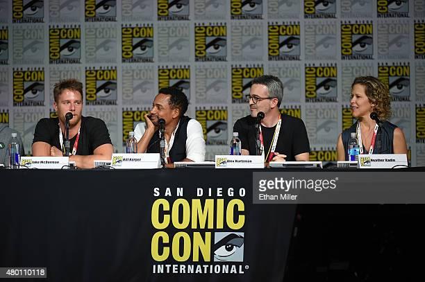 Actor Jake McDorman executive producer Alex Kurtzman actor Hill Harper and executive producer Heather Kadin attend CBS TV Studios' panel for...