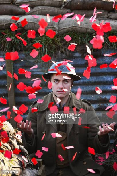 Actor Jake Morgan from the Somme inspired West End production The Wipers Times poses for photographs in a recreated First World War trench in Pollock...