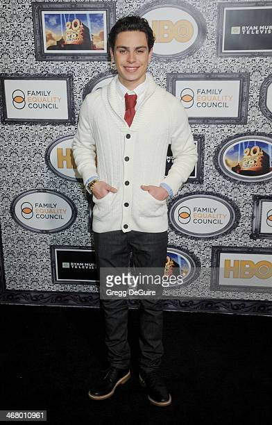 Actor Jake T Austin arrives at the Family Equality Council's Annual Los Angeles Awards Dinner at The Globe Theatre on February 8 2014 in Universal...