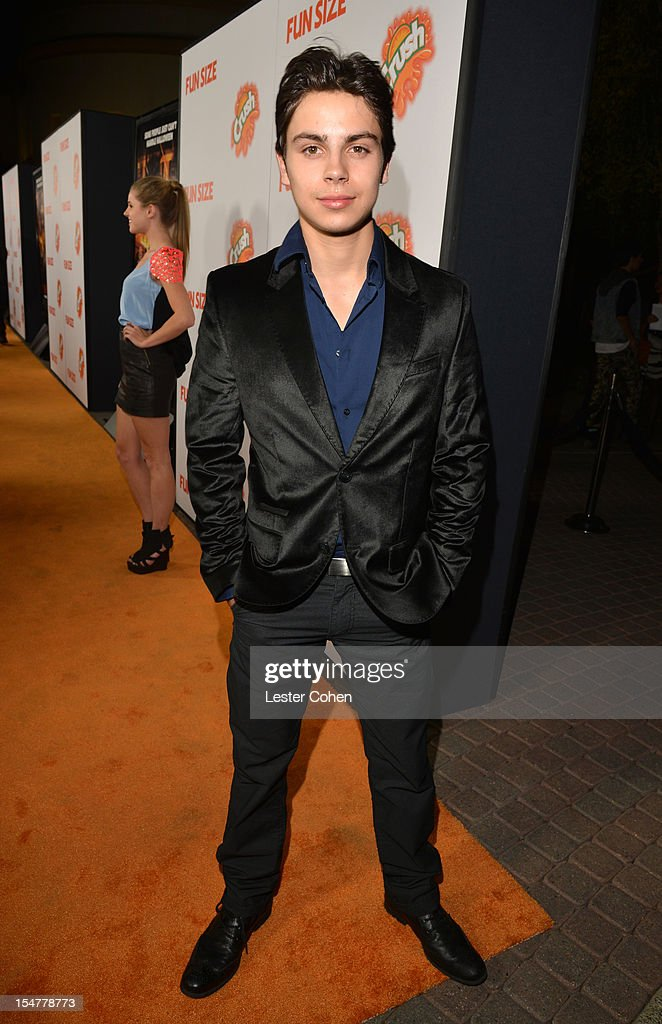 Actor Jake T. Austin arrives at the Los Angeles premiere of 'Fun Size' at Paramount Studios on October 25, 2012 in Hollywood, California.