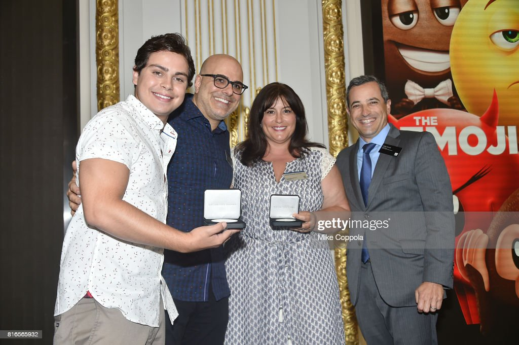 Actor Jake T. Austin, Director Tony Leondis, Producer Michelle Raimo Kouyate and Vice President of the NYSE Listings and NYSE Services Chris Taylor ring The Closing Bell Of The New York Stock Exchange In Honor Of World Emoji Day at New York Stock Exchange on July 17, 2017 in New York City.