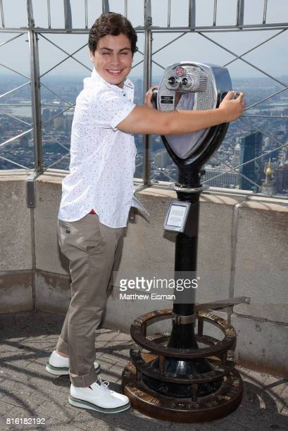Actor Jake T Austin of the film The Emoji Movie poses for a photo to celebrate World Emoji Day at The Empire State Building on July 17 2017 in New...