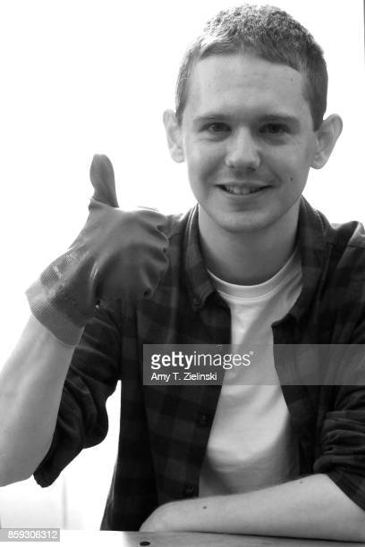 Actor Jake Wardle who portrayed the character Freddie Sykes in the TV series Twin Peaks gives the thumbs up during the Twin Peaks UK Festival 2017 at...