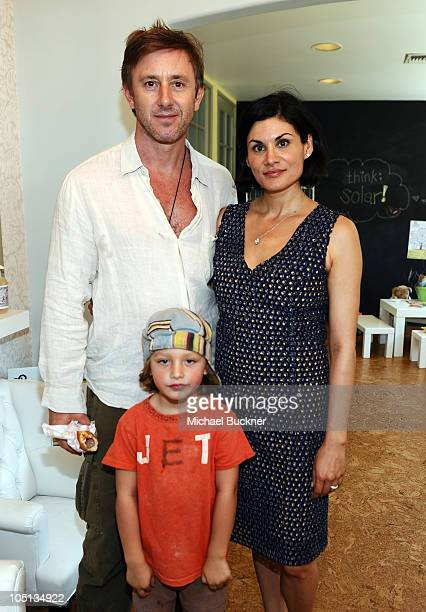 Actor Jake Weber son Waylon and Jessica Iclisoy of California Baby attend the California Baby Family Festival at the California Baby Headquarters on...