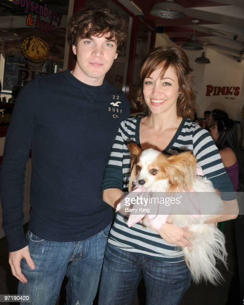Actor Jake White and actress Autumn Reeser and her dog Gatsby attend Pink's Grand Opening at Knott's Berry Farm on February 28 2010 in Buena Park...