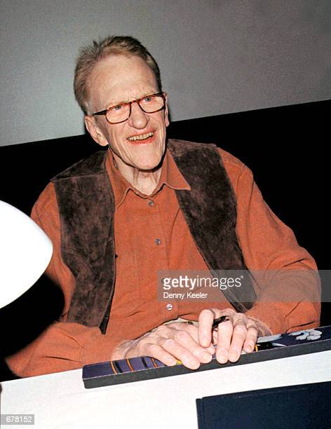 Actor James Arness poses during a signing of his new book 'James Arness An Autobiography' at the Gene Autry Museum November 3 2001 in Los Angeles CA