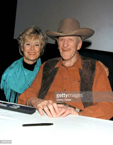 Actor James Arness poses with his wife Janet during a signing of his new book James Arness An Autobiography at the Gene Autry Museum November 3 2001...