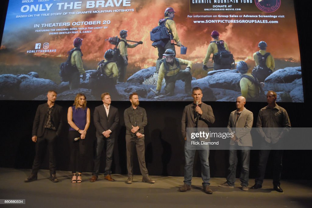 Actor James Badge Dale, producers Molly Smith, Trent Luckinbill singer-songwriter Dierks Bently, actor Josh Brolin, tech advisor Pat McCarty and lone survivor of Yarnell Fire Brendan McDonough speak onstage before the 'Only The Brave' Nashville Screening Hosted by Dierks Bentley at The Belcourt Theatre on October 12, 2017 in Nashville, Tennessee.