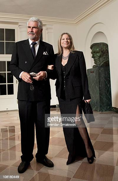 Actor James Brolin and his wife singer Barbra Streisand arrive at the White House for a state dinner 19, 2011 in Washington, DC. President Barack...
