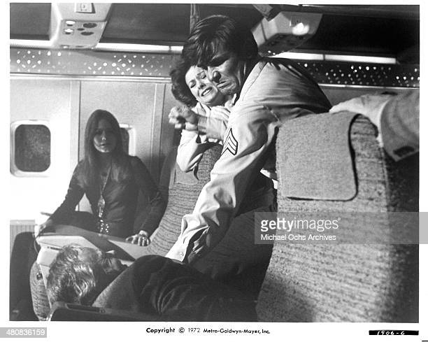 Actor James Brolin fights in a scene from the movie Skyjacked circa 1972