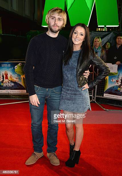 Actor James Buckley and Clair Meek attend the VIP screening of The Muppets Most Wanted at The Curzon Mayfair on March 24 2014 in London England