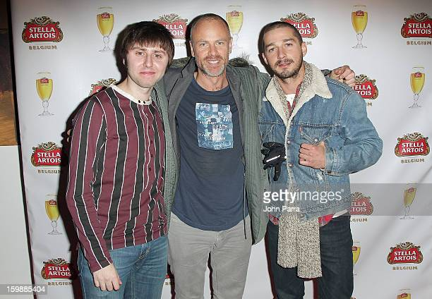 Actor James Buckley, director Fredrik Bond and actor Shia LaBeouf attend the Stella Artois hosted Press Junket for The Necessary Death of Charlie...