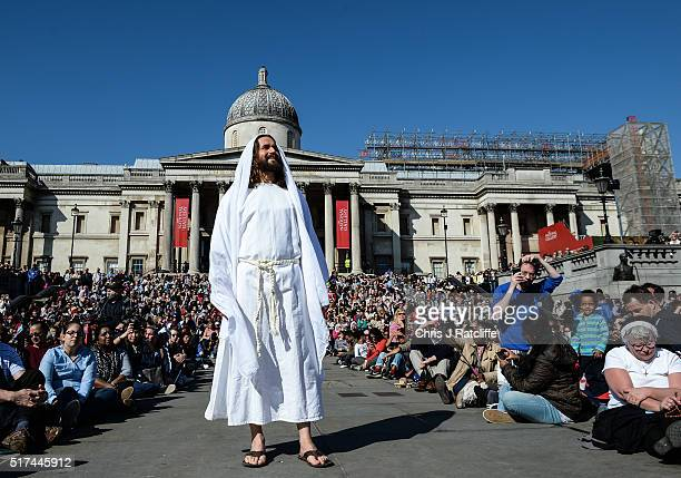 Actor James BurkeDunsmore appears resurrected whilst playing Jesus during The Wintershall's 'The Passion of Jesus' in front of crowds on Good Friday...