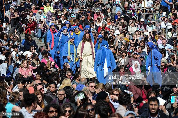 Actor James BurkeDunsmore leads his disciples whilst playing Jesus during The Wintershall's 'The Passion of Jesus' in front of crowds on Good Friday...