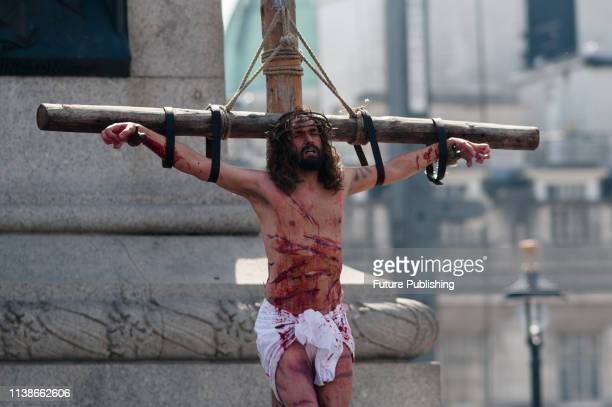 Actor James BurkeDunsmore plays Jesus Christ during crucifiction ar Good Friday performance of 'The Passion of Jesus' by Wintershall cast in...