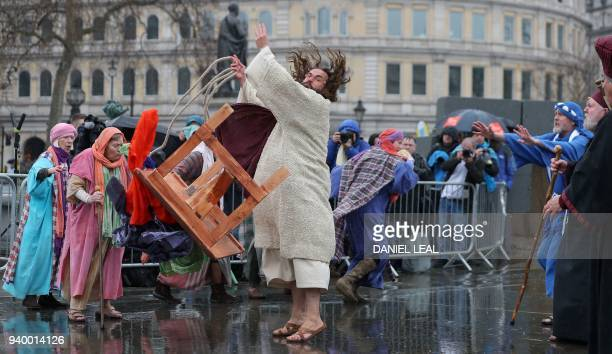 Actor James Burke-Dunsmore plays the role of Jesus Christ, during a performance of Wintershall's 'The Passion of Jesus' on Good Friday in Trafalgar...