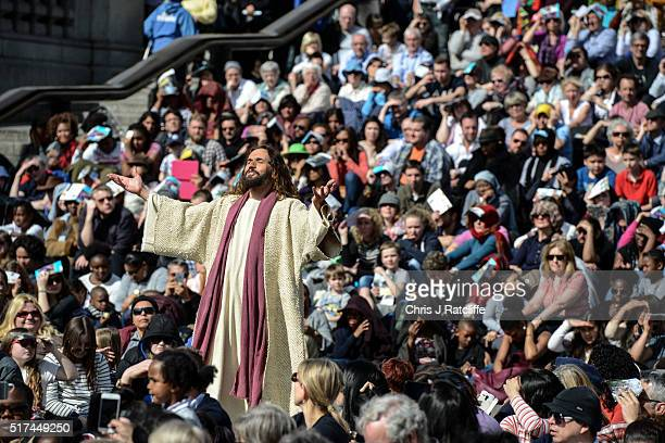 Actor James BurkeDunsmore speaks to his disciples whilst playing Jesus during The Wintershall's 'The Passion of Jesus' in front of crowds on Good...