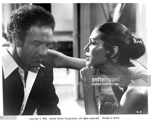 Actor James Caan and actress Pamela Hensley on set of the United Artist movie 'Rollerball' in 1975