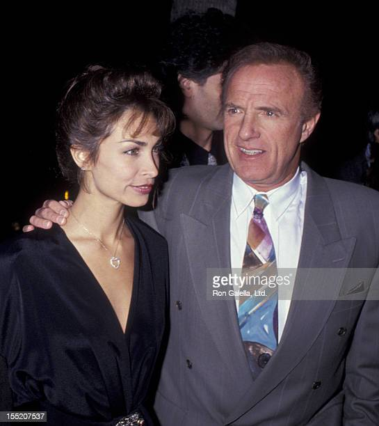 Actor James Caan and Ingrid Hajek attend the premiere of For The Boys on November 14 1991 at the Academy Theater in Beverly Hills California