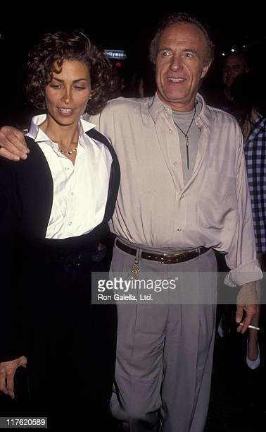 Actor James Caan and Ingrid Hajek attend the premiere of Honeymoon In Vegas on August 25 1992 at Mann Chinese Theater in Hollywood California