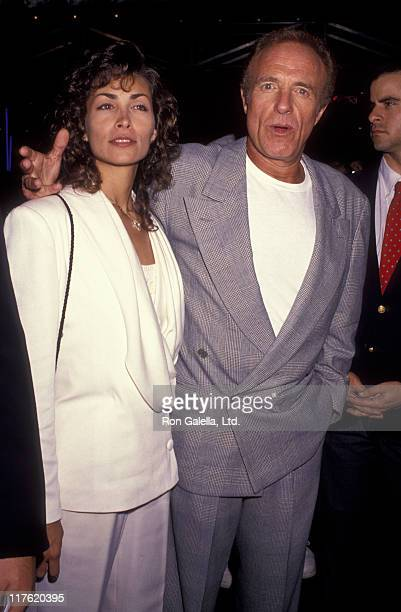 Actor James Caan and Ingrid Hajek attend the premiere of Terminator 2 Judgement Day on June 1 1991 at the Cineplex Odeon Cinema in Century City...